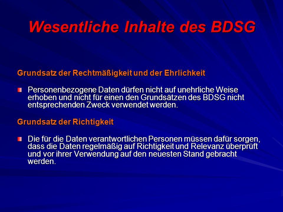 Wesentliche Inhalte des BDSG