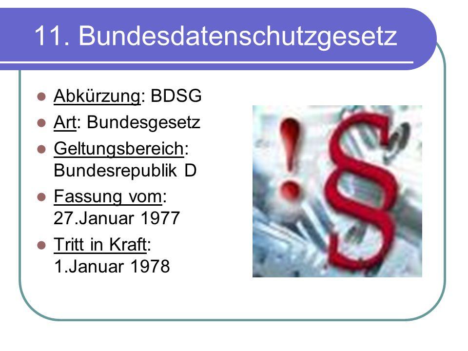 11. Bundesdatenschutzgesetz