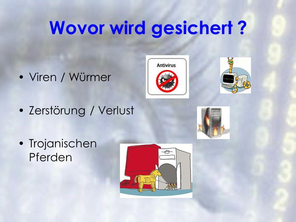 Wovor wird gesichert Viren / Würmer Zerstörung / Verlust