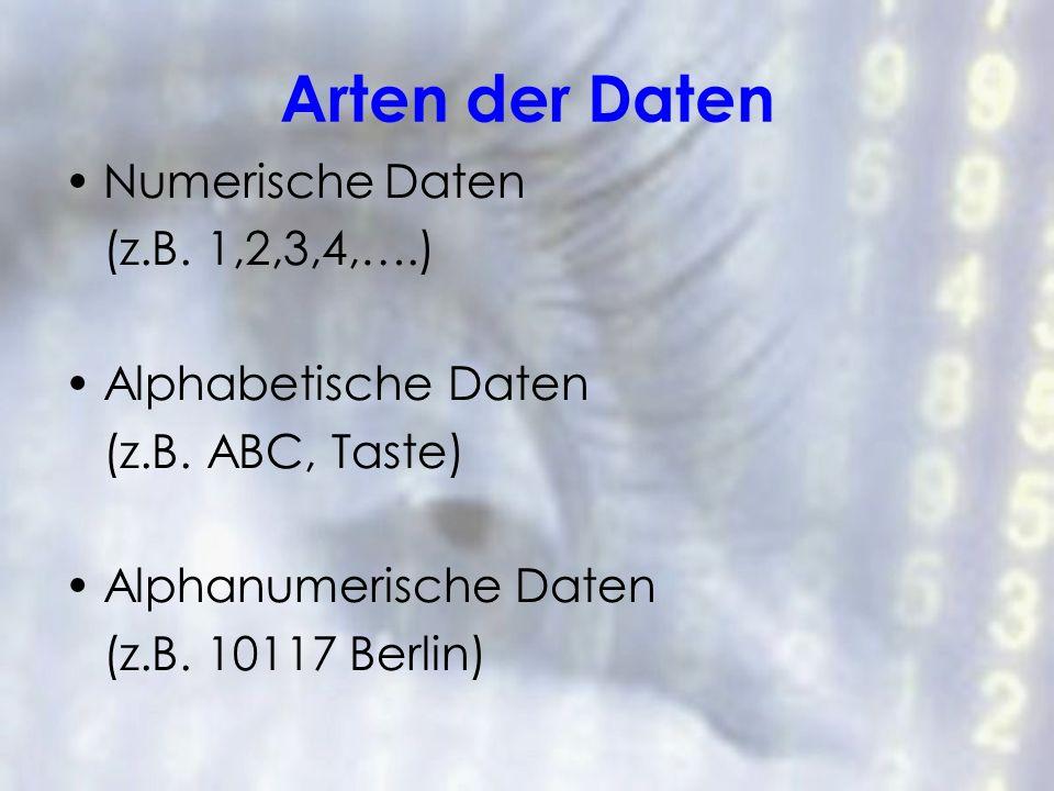 Arten der Daten Numerische Daten (z.B. 1,2,3,4,….) Alphabetische Daten