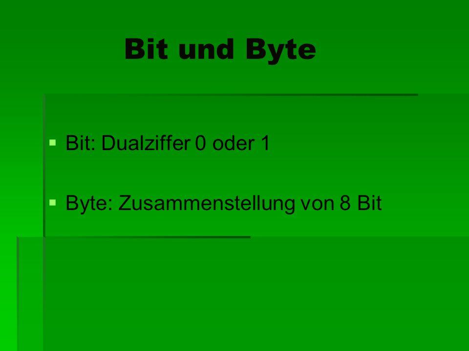 Bit und Byte Bit: Dualziffer 0 oder 1 Byte: Zusammenstellung von 8 Bit