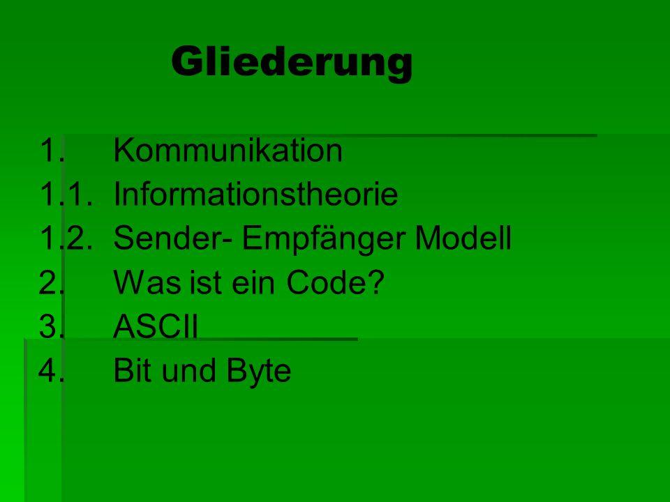 Gliederung 1. Kommunikation 1.1. Informationstheorie