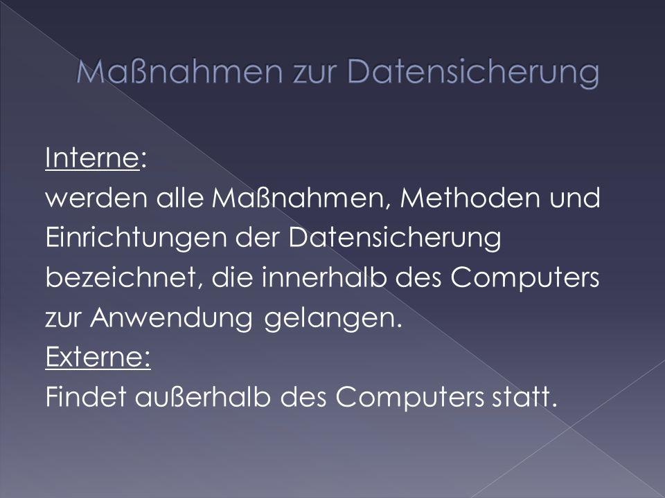 Maßnahmen zur Datensicherung