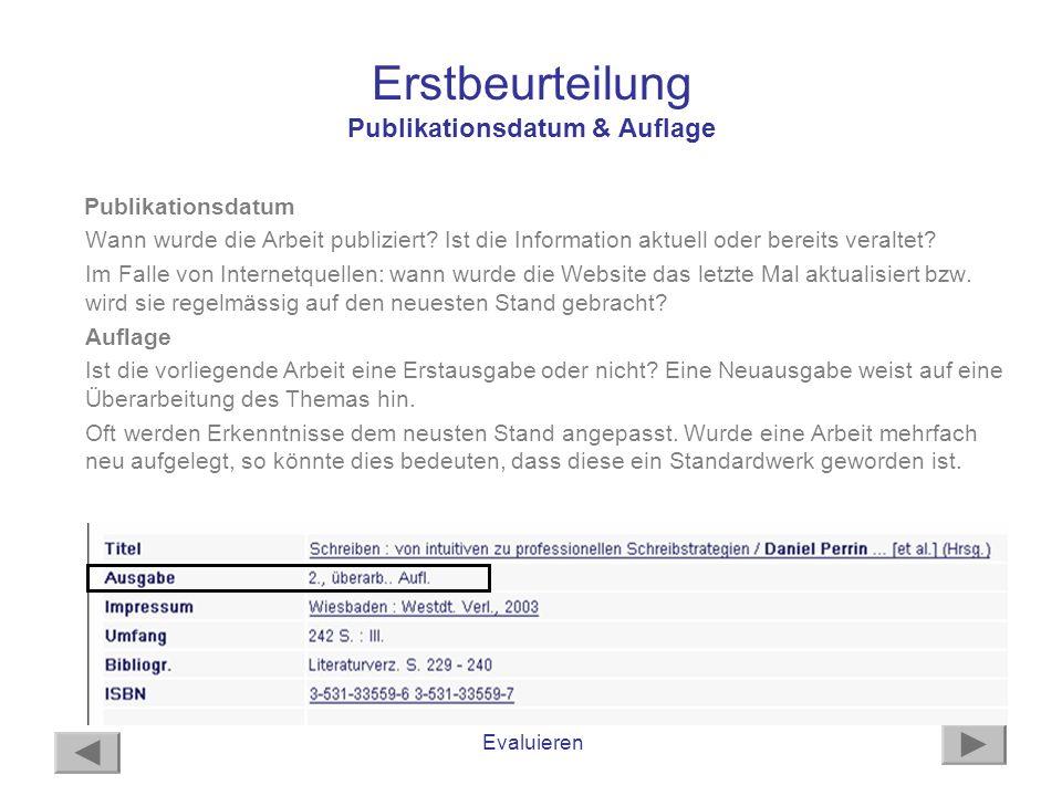 Erstbeurteilung Publikationsdatum & Auflage