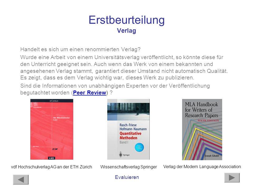 Erstbeurteilung Verlag