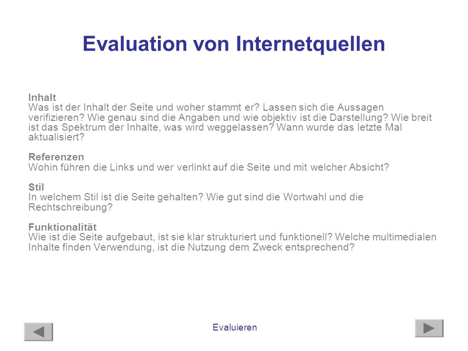 Evaluation von Internetquellen