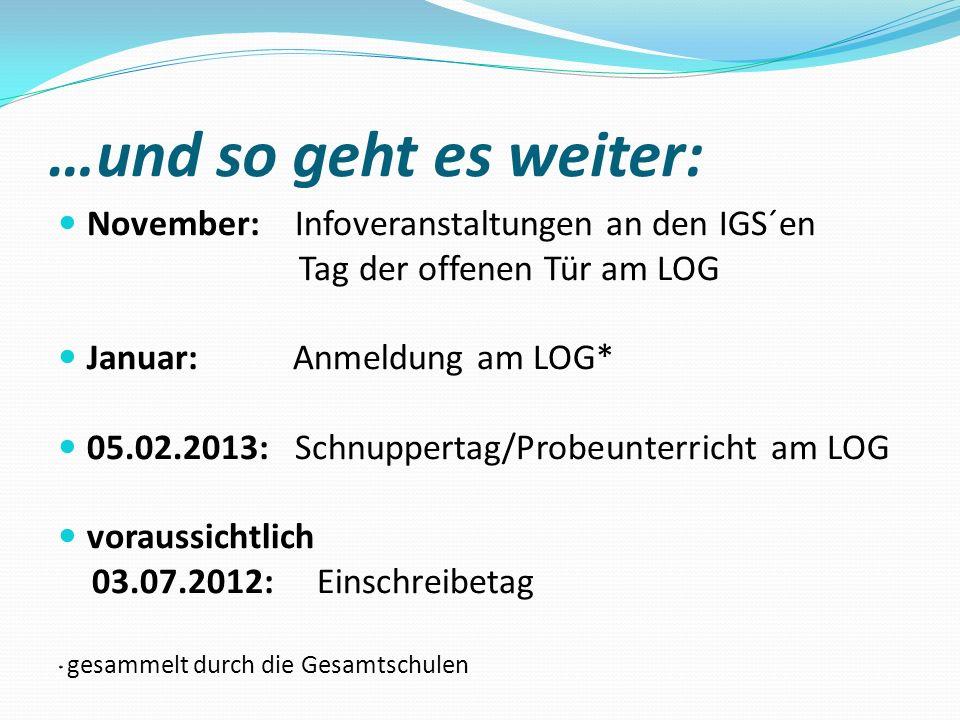 …und so geht es weiter: November: Infoveranstaltungen an den IGS´en