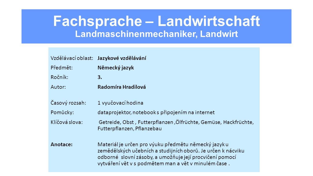 Fachsprache – Landwirtschaft Landmaschinenmechaniker, Landwirt