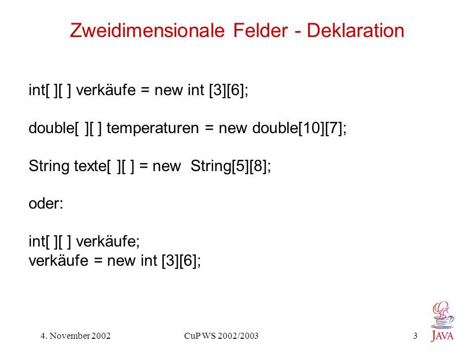 Zweidimensionale Felder - Deklaration