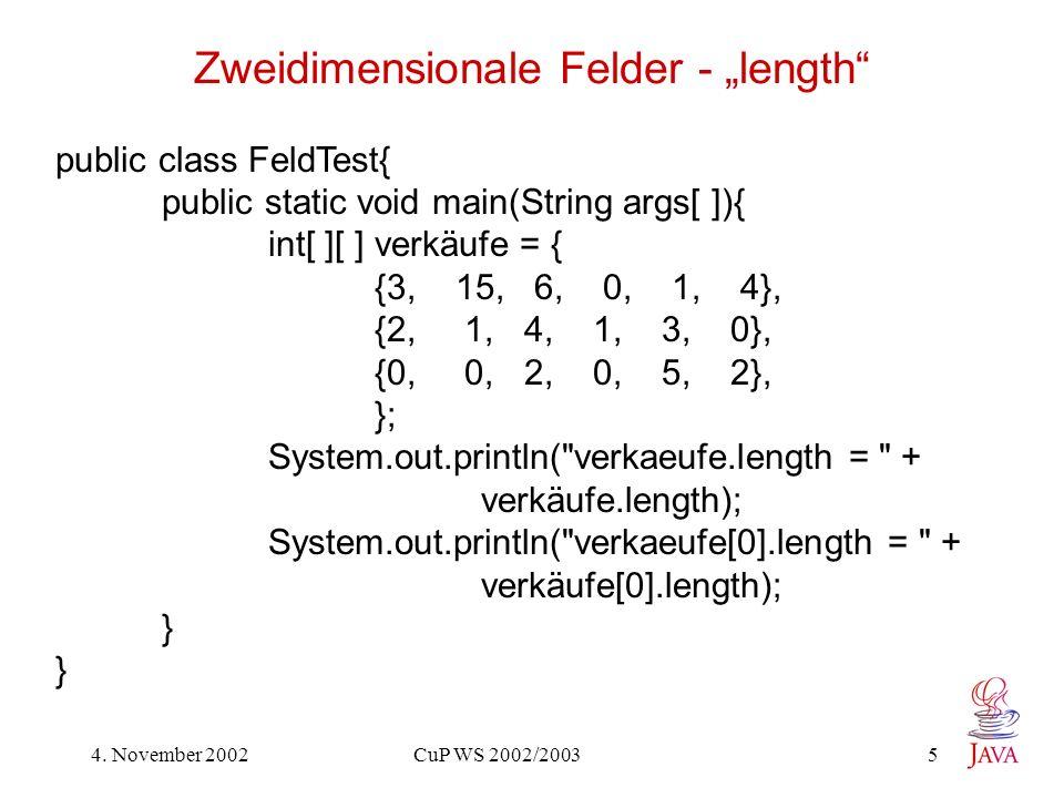 "Zweidimensionale Felder - ""length"