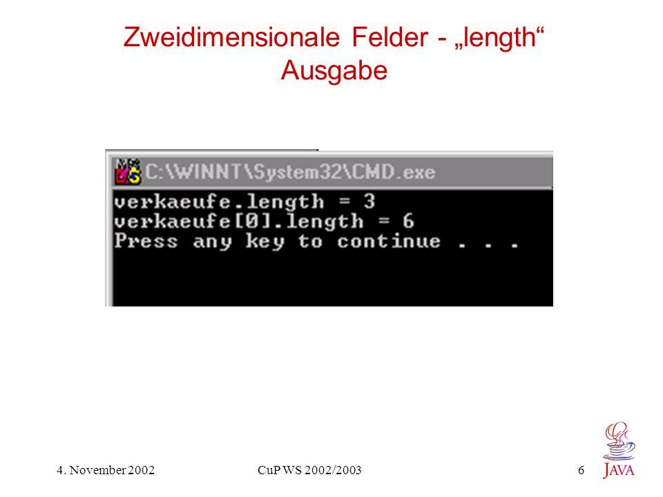 "Zweidimensionale Felder - ""length Ausgabe"