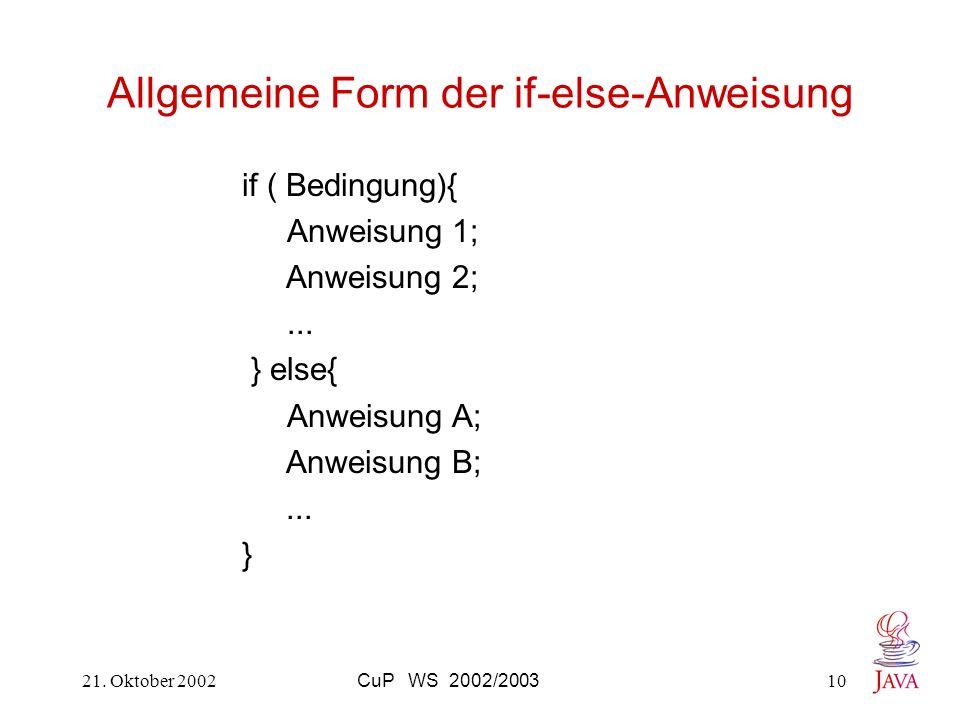 Allgemeine Form der if-else-Anweisung