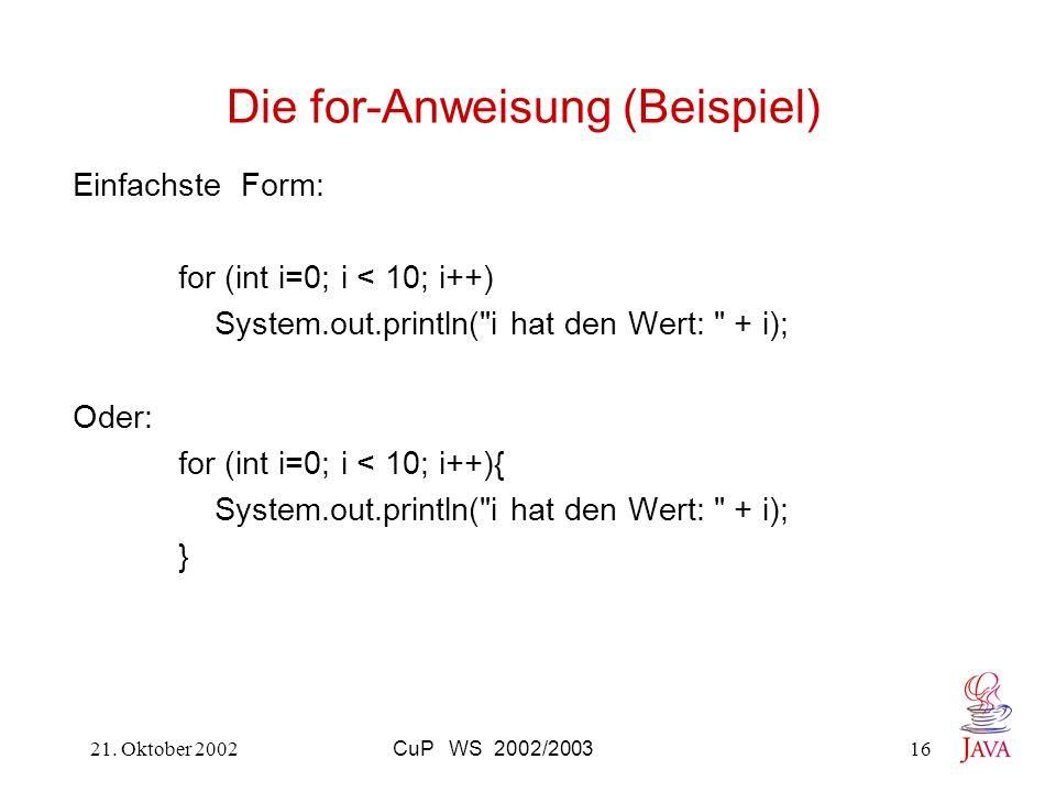 Die for-Anweisung (Beispiel)