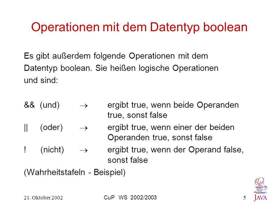 Operationen mit dem Datentyp boolean