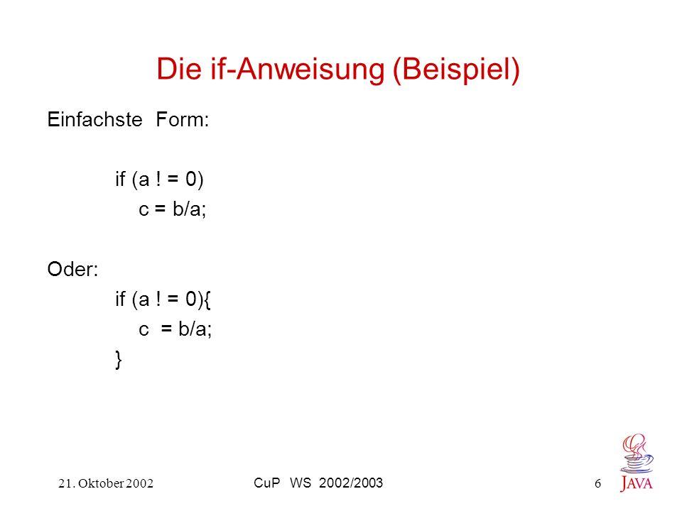 Die if-Anweisung (Beispiel)