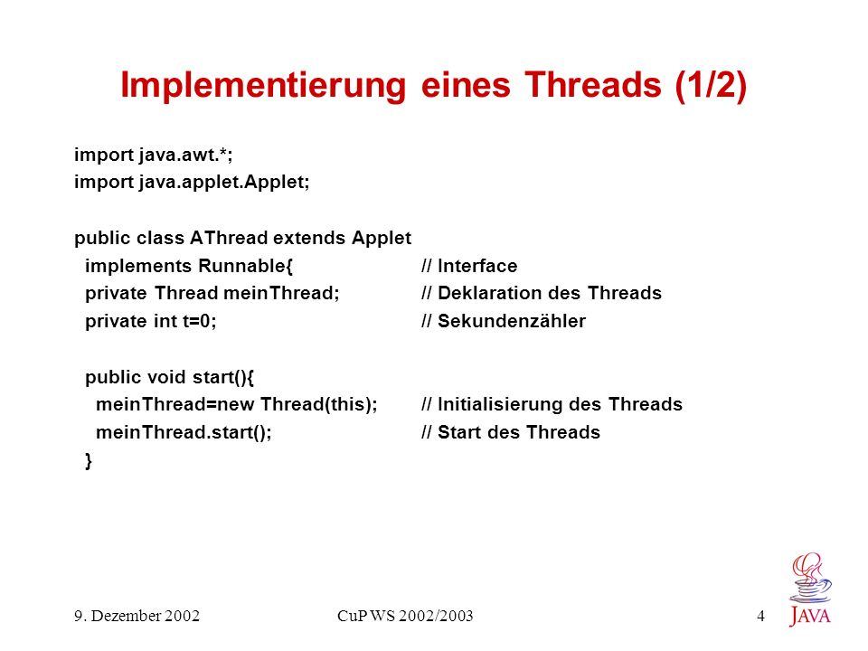 Implementierung eines Threads (1/2)