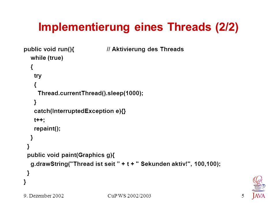 Implementierung eines Threads (2/2)