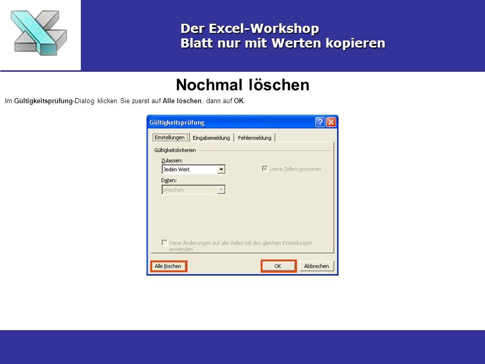 Nochmal löschen Der Excel-Workshop Blatt nur mit Werten kopieren