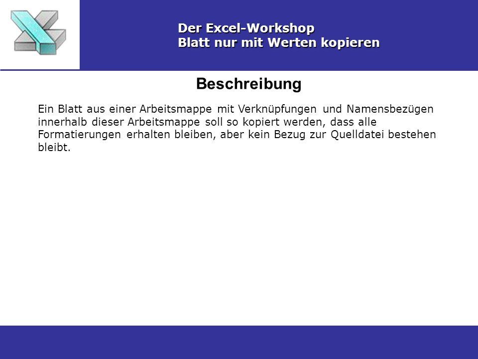 Beschreibung Der Excel-Workshop Blatt nur mit Werten kopieren