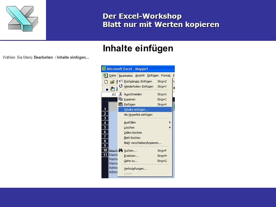 Inhalte einfügen Der Excel-Workshop Blatt nur mit Werten kopieren