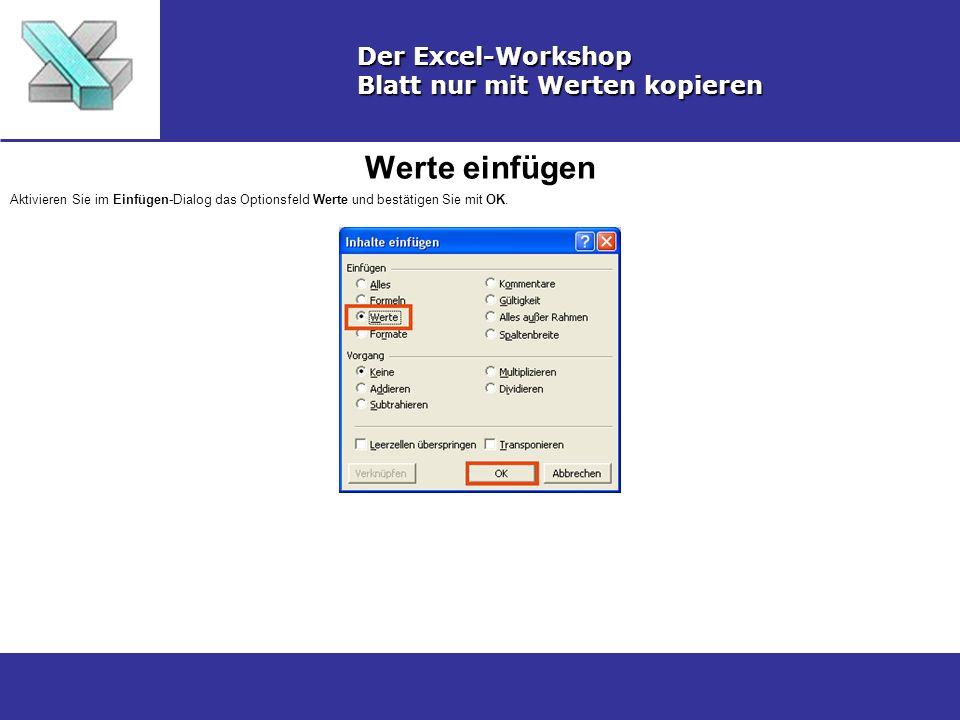 Werte einfügen Der Excel-Workshop Blatt nur mit Werten kopieren