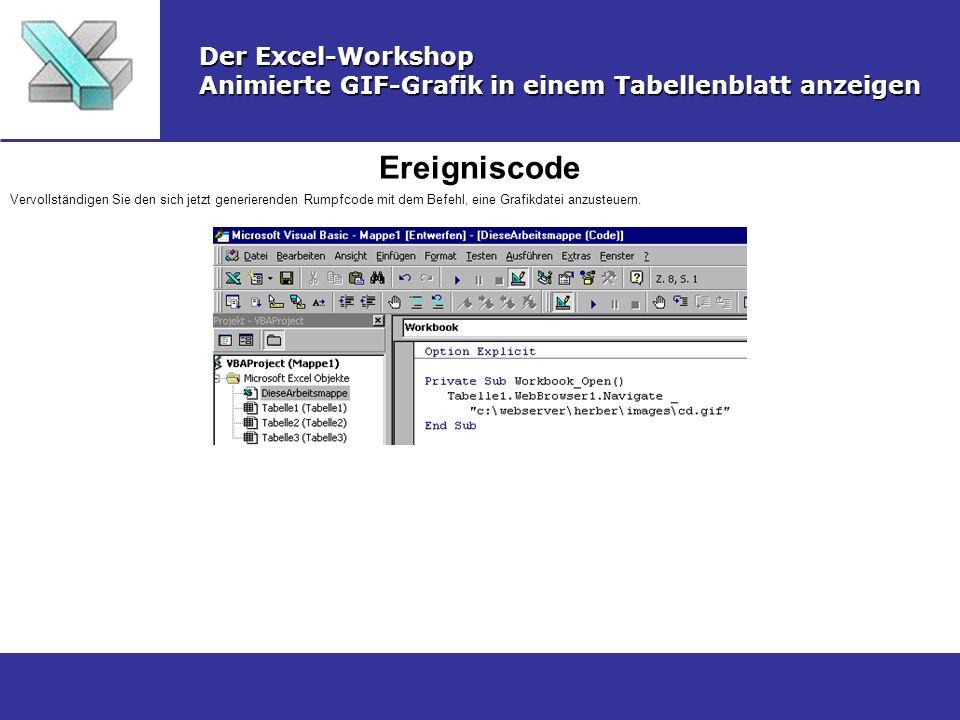 Ereigniscode Der Excel-Workshop