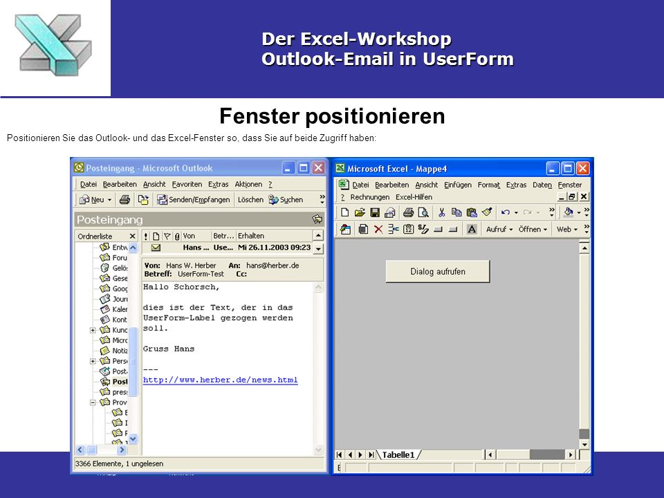 Fenster positionieren