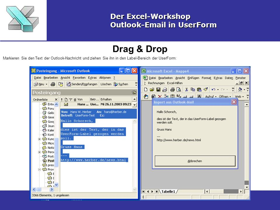 Drag & Drop Der Excel-Workshop Outlook-Email in UserForm
