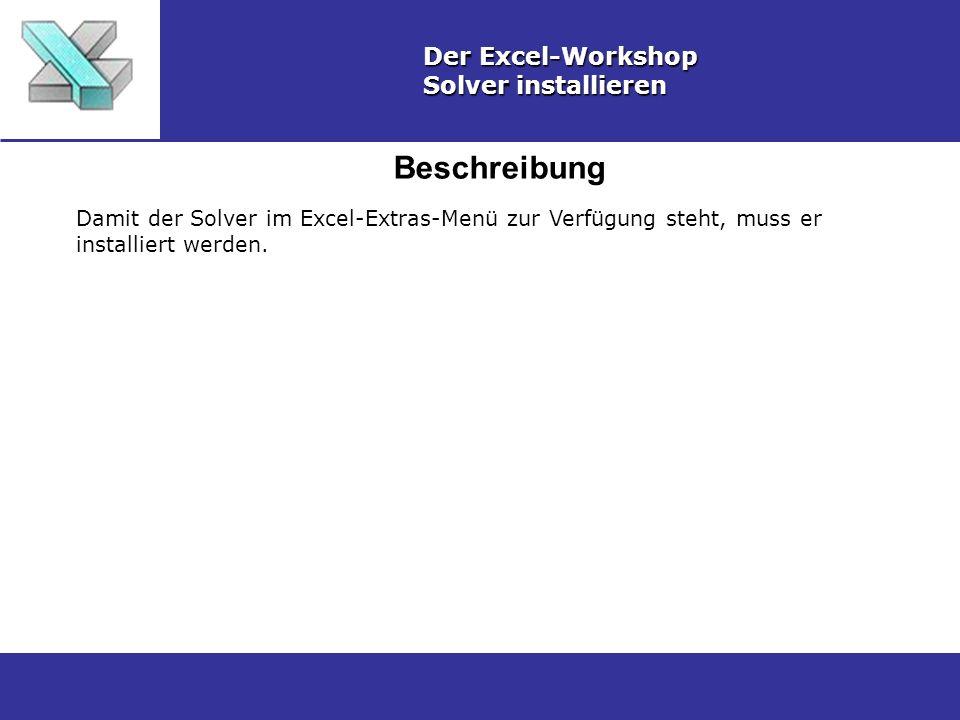 Beschreibung Der Excel-Workshop Solver installieren