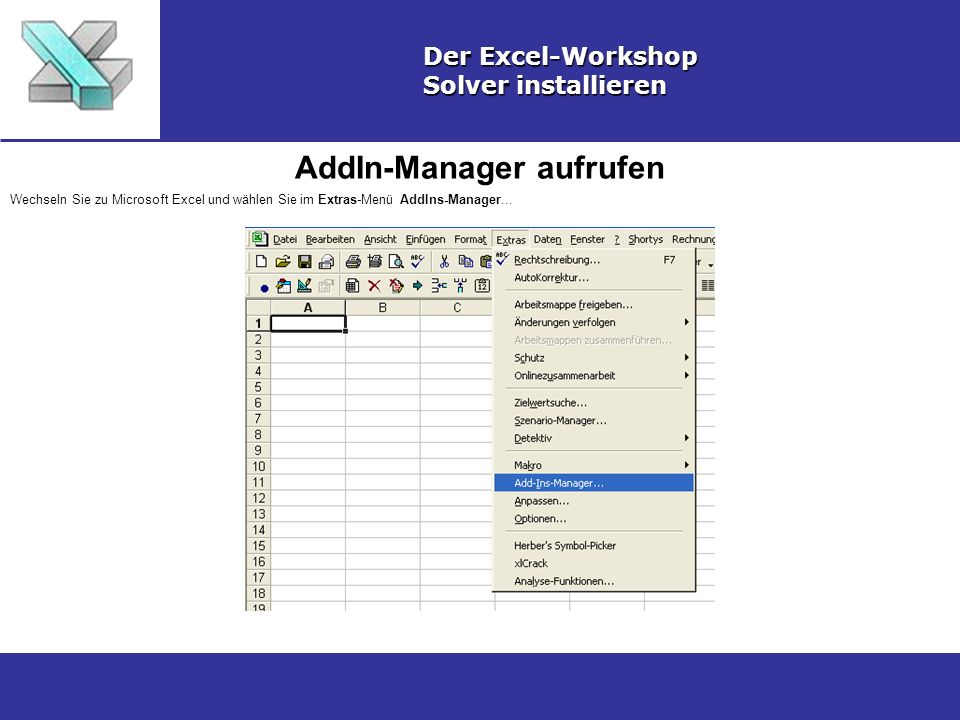 AddIn-Manager aufrufen