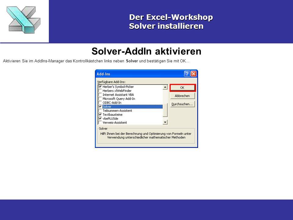 Solver-AddIn aktivieren