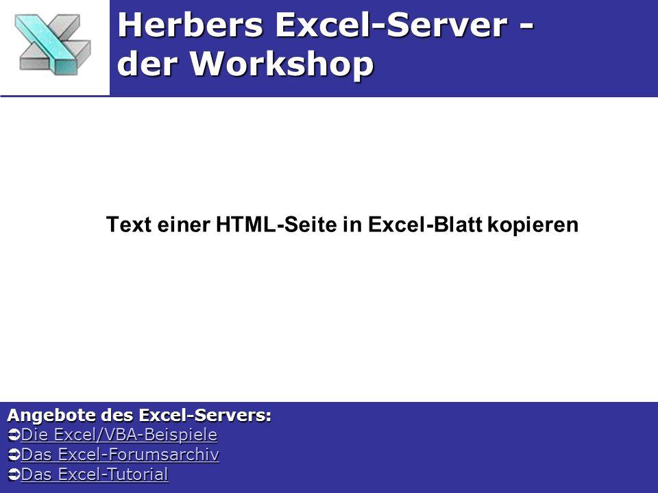 Text einer HTML-Seite in Excel-Blatt kopieren