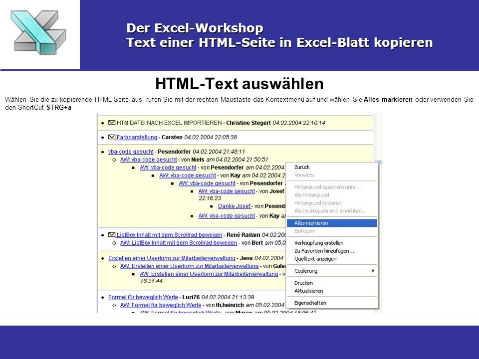 HTML-Text auswählen Der Excel-Workshop