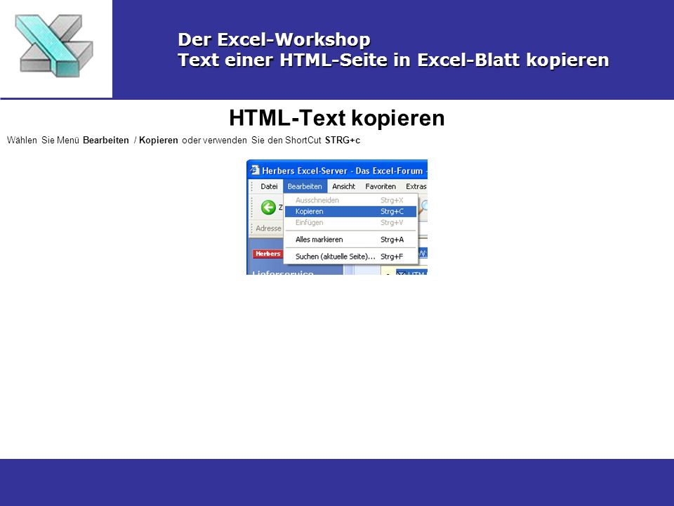 HTML-Text kopieren Der Excel-Workshop