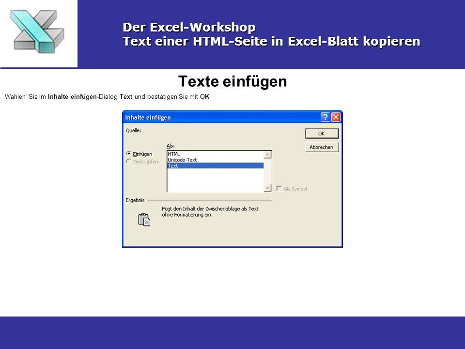 Texte einfügen Der Excel-Workshop