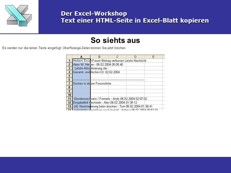 So siehts aus Der Excel-Workshop