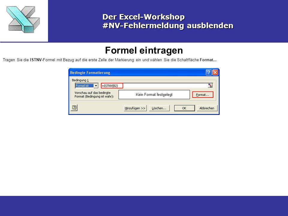 Formel eintragen Der Excel-Workshop #NV-Fehlermeldung ausblenden