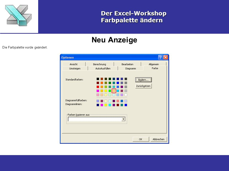 Neu Anzeige Der Excel-Workshop Farbpalette ändern