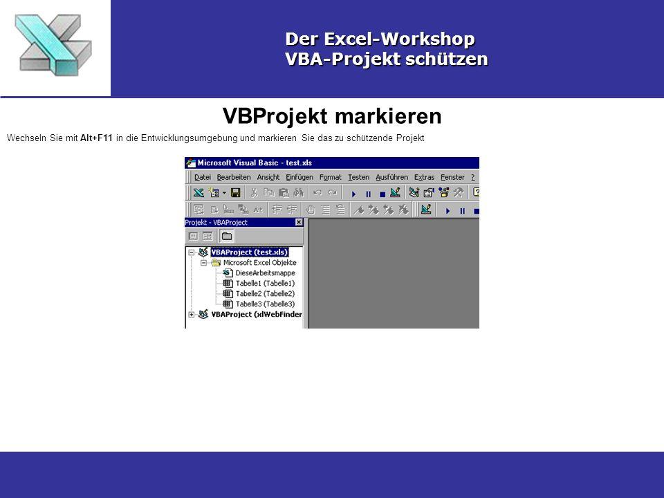 VBProjekt markieren Der Excel-Workshop VBA-Projekt schützen