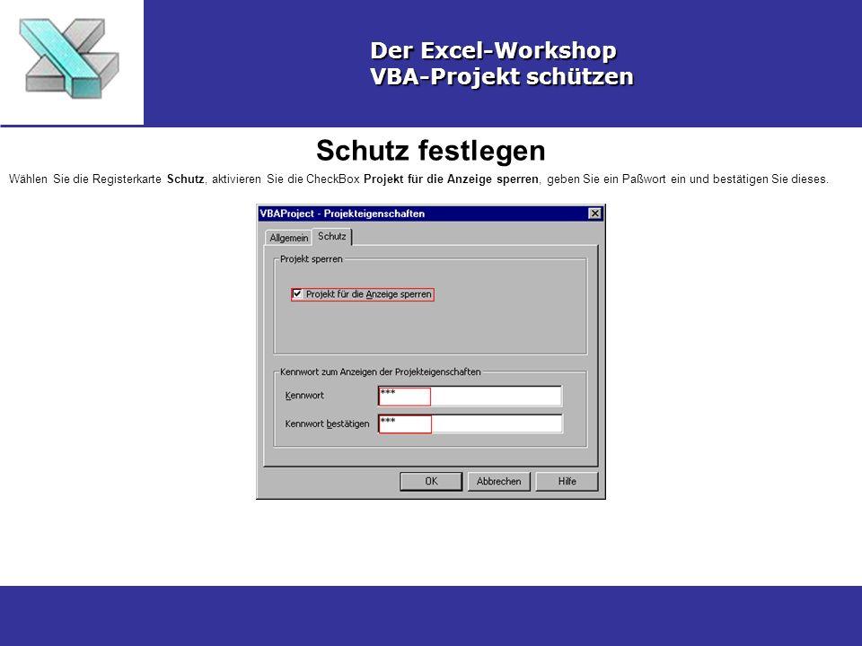 Schutz festlegen Der Excel-Workshop VBA-Projekt schützen