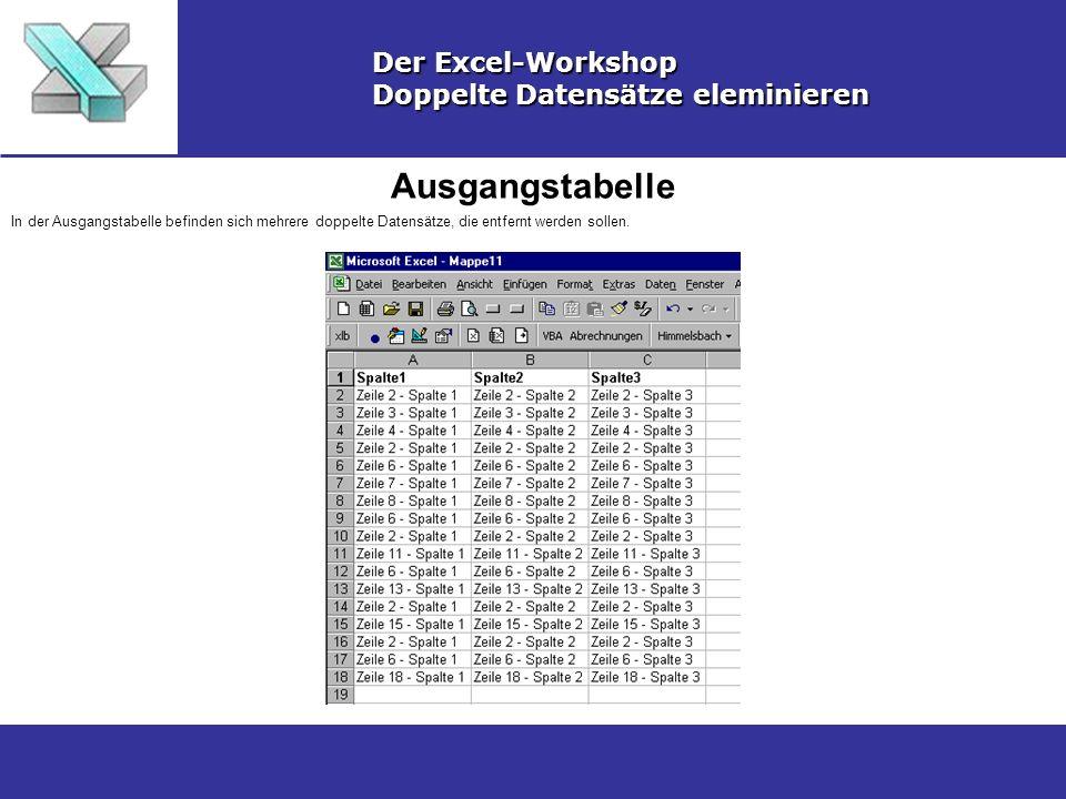 Ausgangstabelle Der Excel-Workshop Doppelte Datensätze eleminieren
