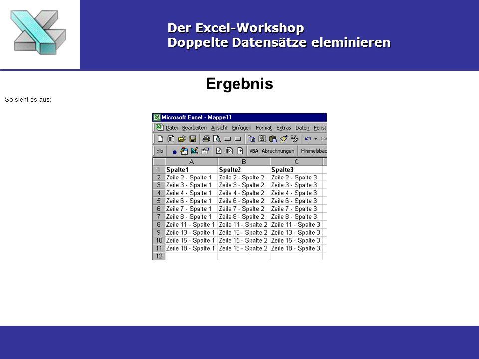 Ergebnis Der Excel-Workshop Doppelte Datensätze eleminieren