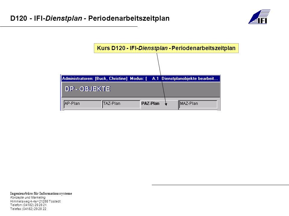 Kurs D120 - IFI-Dienstplan - Periodenarbeitszeitplan