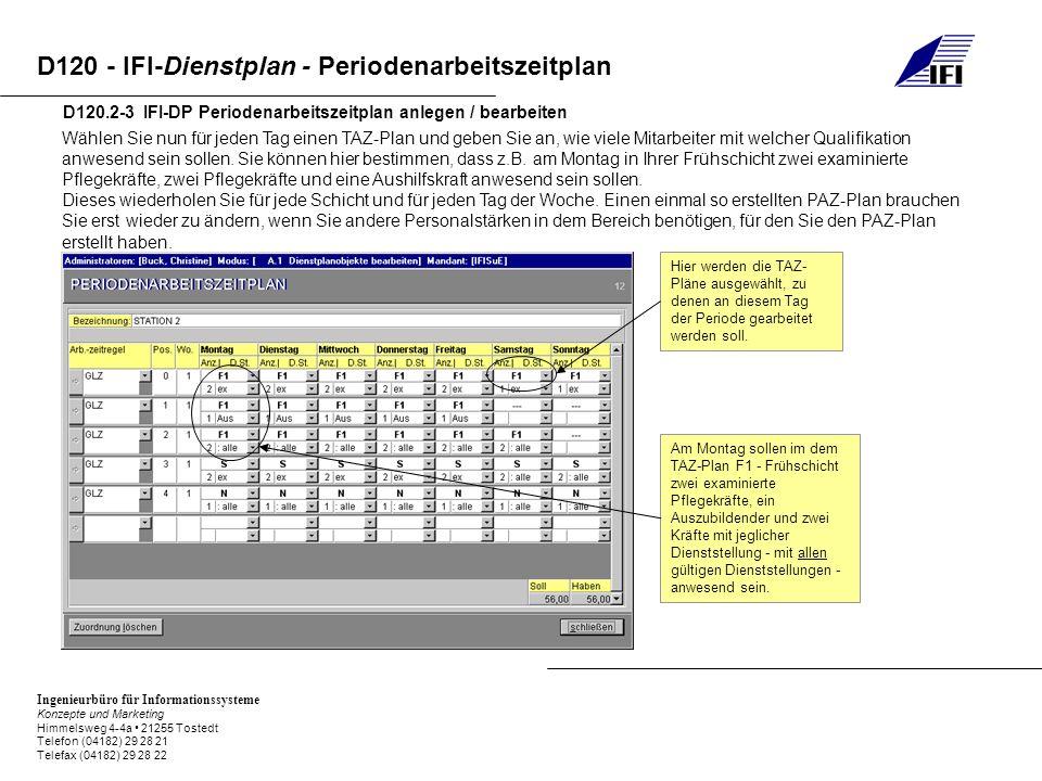 D120.2-3 IFI-DP Periodenarbeitszeitplan anlegen / bearbeiten