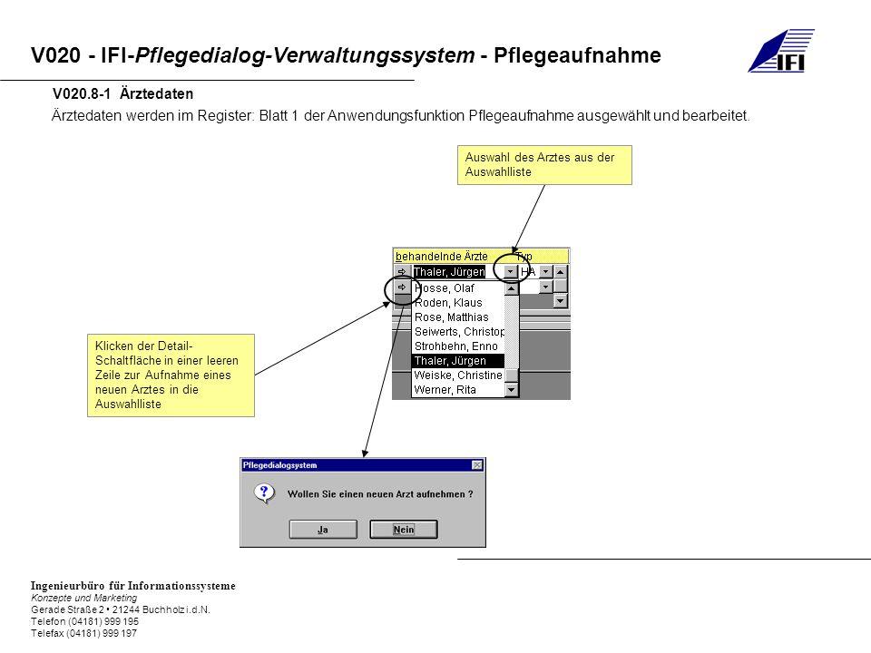 V020.8-1 Ärztedaten Ärztedaten werden im Register: Blatt 1 der Anwendungsfunktion Pflegeaufnahme ausgewählt und bearbeitet.