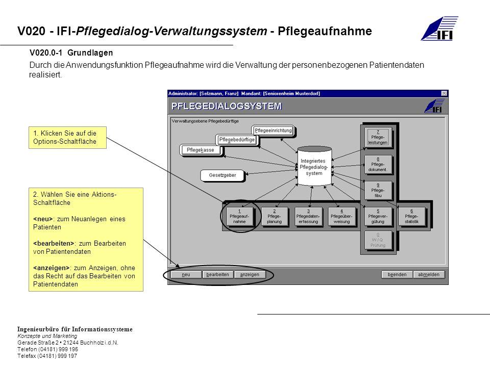 V020.0-1 Grundlagen Durch die Anwendungsfunktion Pflegeaufnahme wird die Verwaltung der personenbezogenen Patientendaten realisiert.