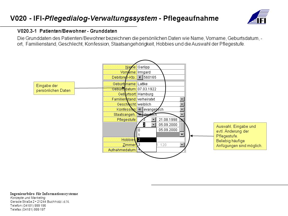 V020.3-1 Patienten/Bewohner - Grunddaten
