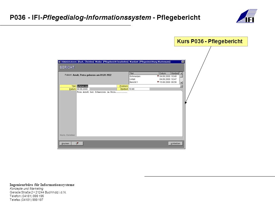 Kurs P036 - Pflegebericht