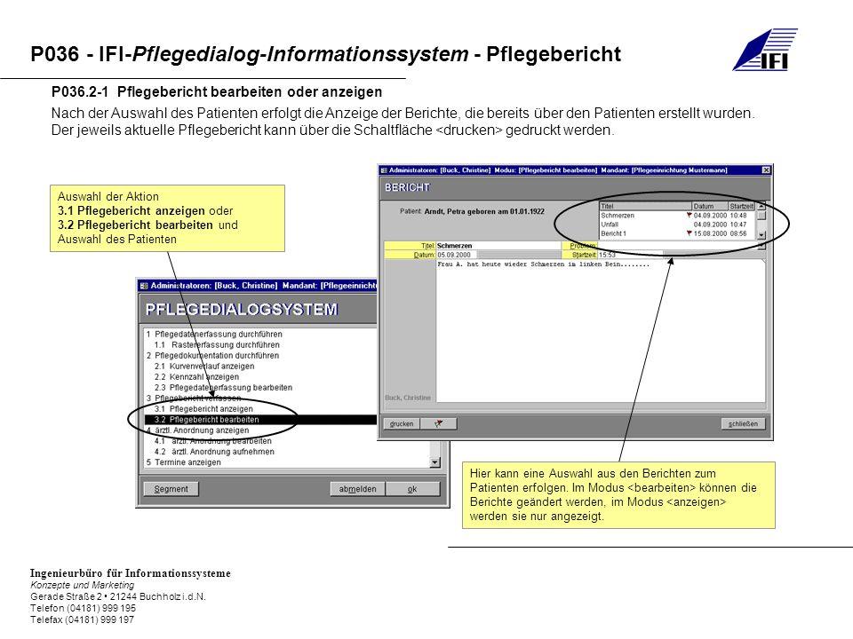 P036.2-1 Pflegebericht bearbeiten oder anzeigen