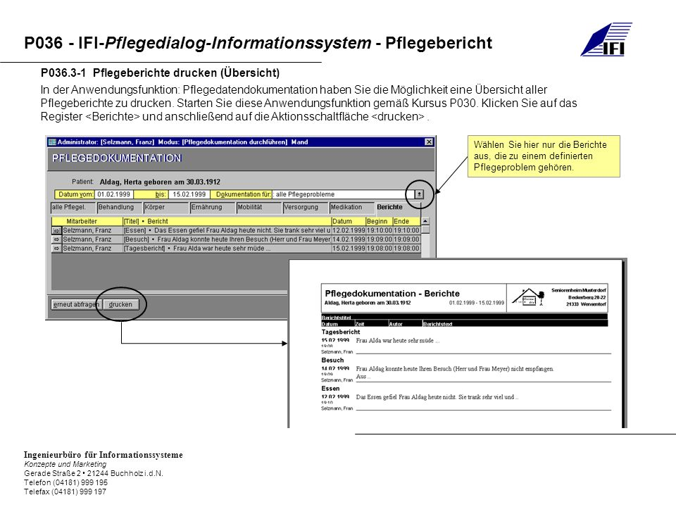 P036.3-1 Pflegeberichte drucken (Übersicht)
